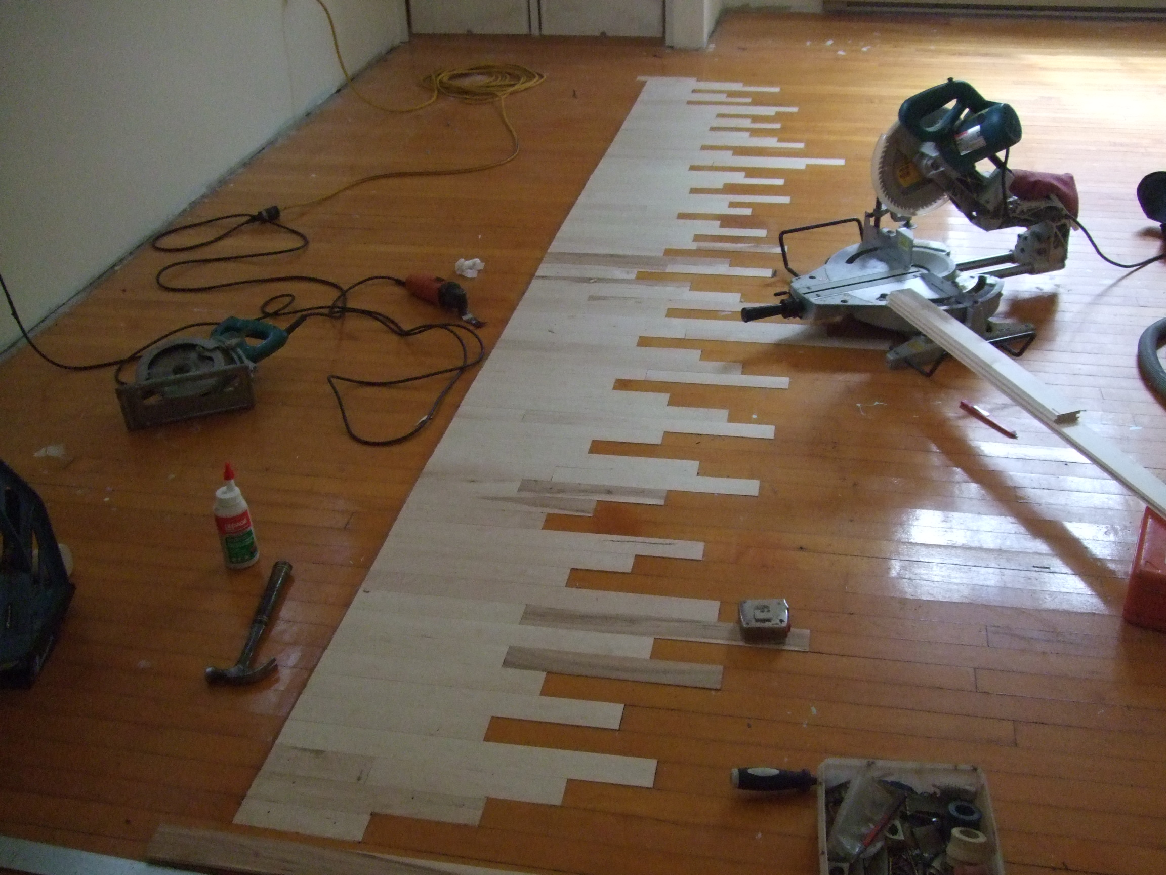 Weaving new floor into old